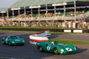 Green Cars on the Racing Track