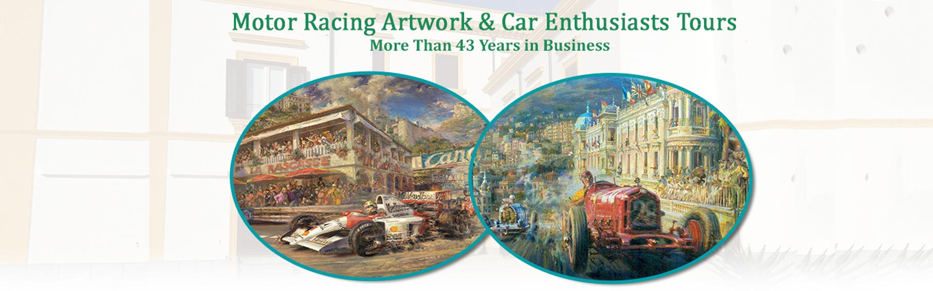 Collage of Paintings of Car Racing