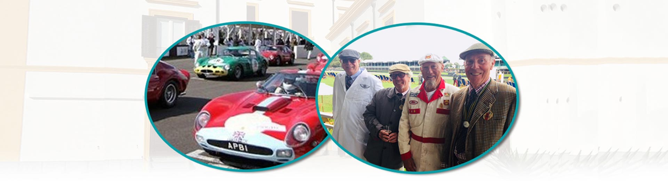 Collage of Red Racing Car and Men Smiling